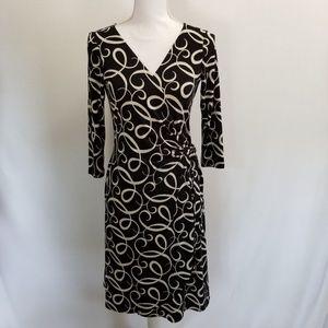 London Times Wrap Dress Black Ivory Size 8
